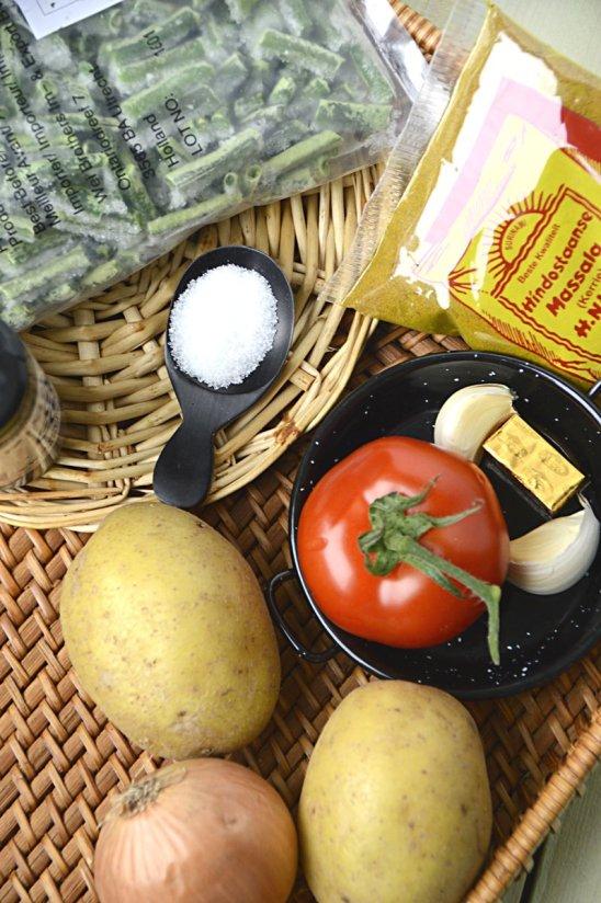 ingrediënten- kousenband met aardappel