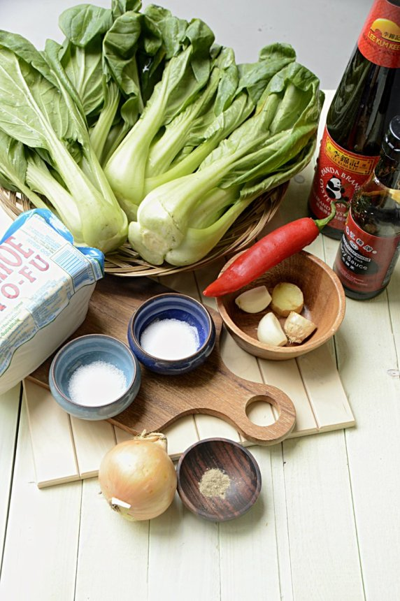 ingrediënten- paksoi -en -tahu- in- oestersaus