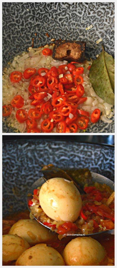voorbereiding- sambal goreng telor