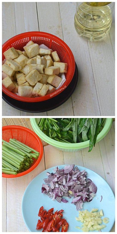 voorbereiding tumis kangkung met tahu