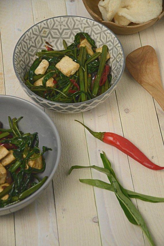 Tumis- kangkung -met- tahu -tofu