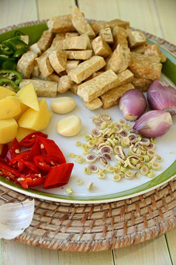 gesneden- ingrediënten- oseng- tempéh- ketjap